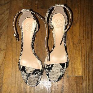 Black and grey snake skin Tory Burch heels